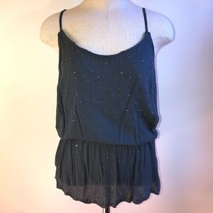NWT Gray Studded Embellished Flowy Cinched Tank
